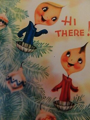 Vintage Christmas Greeting Card Anthropomorphic Tree Candly Ornaments - Signed