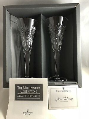 """Signed Pair Waterford Crystal Millennium Collection Toasting Flutes """"Health"""""""