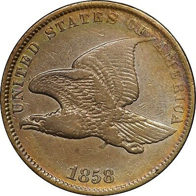 1858 Flying Eagle Cent 1c, VF Very Fine, Cleaned, Colorful Toning