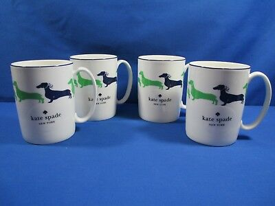 Kate Spade Lenox Wickford Dachshund Set Of 4 Mugs Cups Coffee Tea Doxie Dogs New
