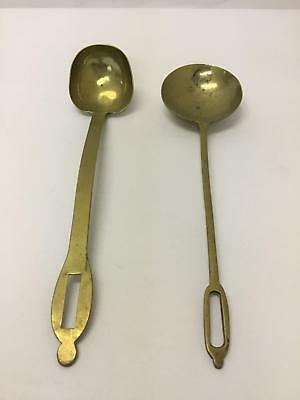 """Pair of Antique Brass Ladle Serving Spoons 14"""" Length Large Heavy Duty"""