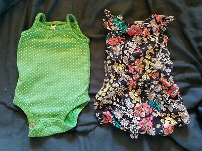 Old Navy & Carters Baby Girl Floral Romper Jumper body suit green 3 mth 0-3 mth