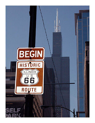 Chicago Route 66 Set of 7 Color Postcards - New - Signed and Sold by Artist