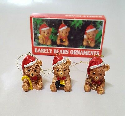 Vintage Barely Bears Ornaments Christmas Around the World 3 set Handpainted 90s