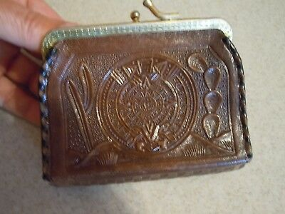 Vintage Mexico Hand Tooled Embossed Leather Wallet Coin Change Purse