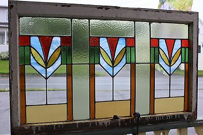 Antique Stained Leaded Glass Window Original Wood Frame Architectural  41 X 25
