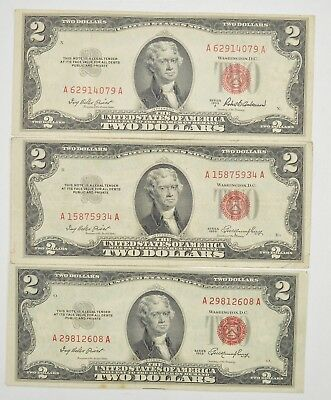 Lot (3) Red Seal $2.00 US 1953 or 1963 Notes - Currency Collection *267