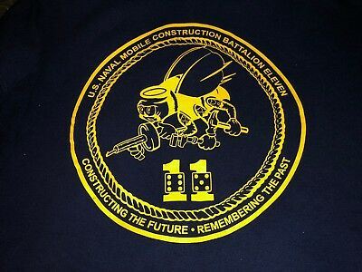 US Navy Naval Mobile Construction Bn 11 SEABEES Hooded Sweat Shirt XXLarge