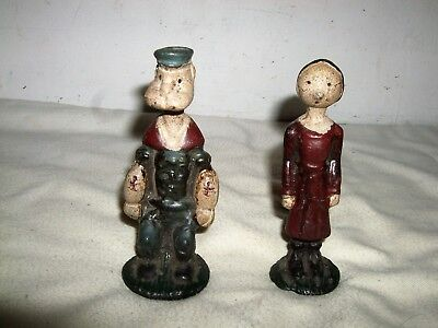 Rare Original Antique Vintage Popeye & Olive Oyl Cast Iron Metal figures