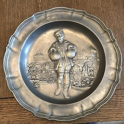 """Antique German Pewter Plate 12"""" Man With Birds w/Hanger & Mark Pre-WWII"""