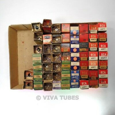 Lot of Mixed Types 6SF7, 7A5, etc - 58 Untested, Vintage, Boxed Vacuum Tubes