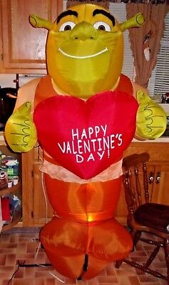 Large 6' Shrek Valentines Day Airblown Self Inflatable Yard Decor In Box Works