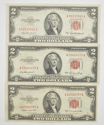 Lot (3) Red Seal $2.00 US 1953 or 1963 Notes - Currency Collection *268