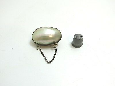 Antique Mother Of Pearl Shell Sewing Thimble Holder Case With Sterling Thimble