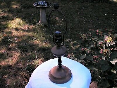 Old Lamp Base Vintage Metal for Leaded Glass Panel Reverse Painted Shade