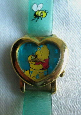 Vintage Wrist Watch Disney Winnie The Pooh Heart Face with Bees