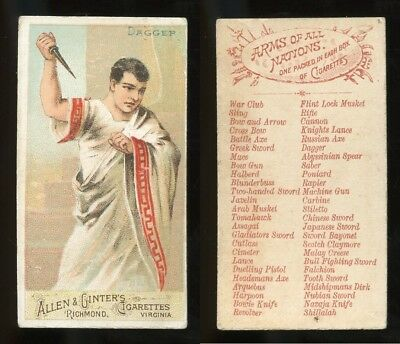"""1887 N3 Allen & Ginter Arms of All Nations """"Dagger"""" VG **AA-9096**"""