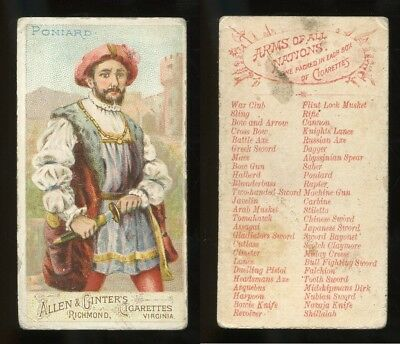 """1887 N3 Allen & Ginter Arms of All Nations """"Poniard"""" VG **AA-9089**"""