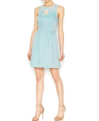 Kensie Sleeveless Brocade Dress Womens Size Medium Tahiti Teal Combo