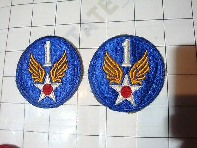 2x :: wwii WW2 uniform PATCH embroidered USA US 1 1st Army Air AAF winged star