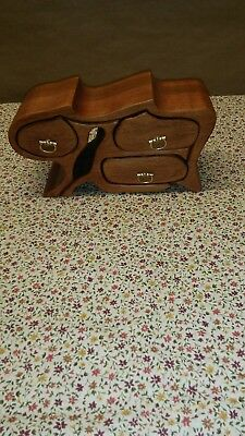 Vintage Wood HAND Carved Animal~ with drawers in side,