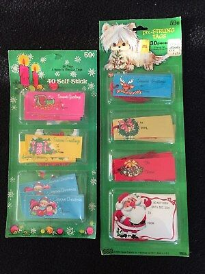 Vintage Christmas gift tags with red strings from the 1960's - 1970's
