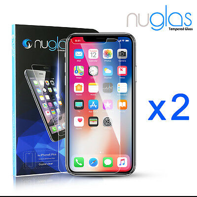 2x GENUINE NUGLAS Scratch Resist Tempered Glass Screen Protector Apple iPhone X