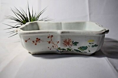 Vintage Famille Rose Chinese narcissus bowl Vase lflowers motif