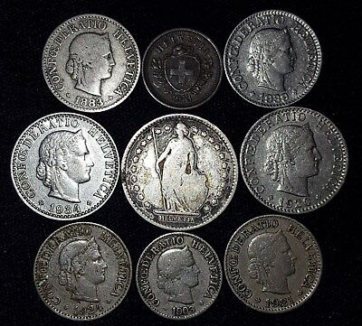 9 Coins from Switzerland.  1883-1939.  No Reserve!