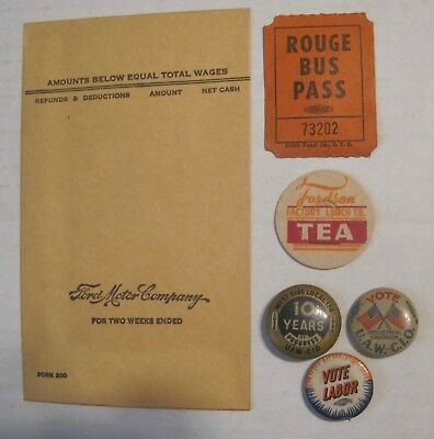 Vintage Ford Rouge Plant , Pay Envelope , Plant Bus Ticket , Fordson & Union