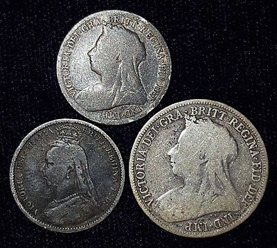 3 Silver Coins from Victorian England.  1889-1900.   No Reserve!!