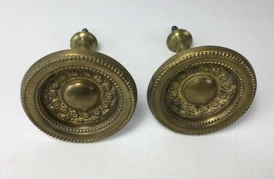 Antique Pair Of Victorian Pressed Brass Curtain Pull Backs Ties