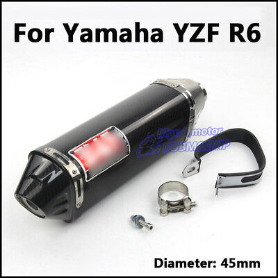 45mm Real Carbon Fiber Exhaust Muffler Pipe Exhaust Tail Tube For Yamaha YZF R6