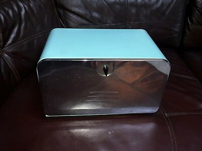 Authentic 1950's Metal Bread Box Turquoise & Chrome Kitchen Collectible IMMACU!!