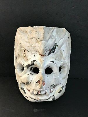 "A327S- Authentic 8.5"" Antique Mask Handcarved Vintage Wood Fox Demon"
