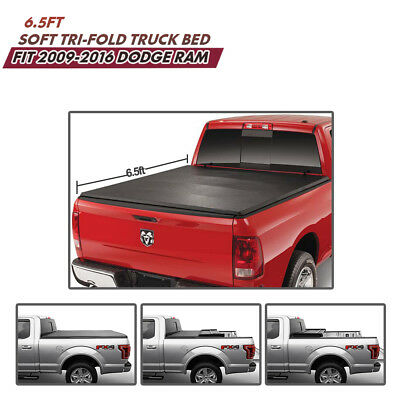 6.5ft Soft Tri-fold Tonneau Cover For 09-2016 Dodge Ram Trunk Bed