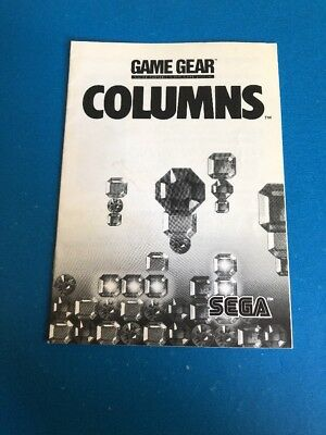 Columns - Sega Game Gear - MANUAL ONLY - Authentic - Instruction Booklet - A