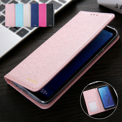 For Samsung S10 5G Note 9 S8 Plus S7 Edge Wallet Case Leather Flip Silk Cover