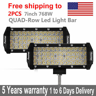 "2X 7"" inch 768W Quad-Row LED Pods Work Light Bar Spot Beam Truck ATV UTE VS 360W"