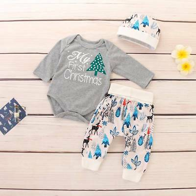 Infant Baby Boy Girl My First Christmas Clothes Romper Pants Hat Tree Outfit Set