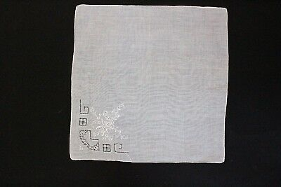 Ladies white embroidered handkerchief suitable for weddings, high tea etc.