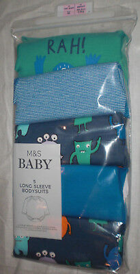 M&S Tiny Baby 6lb 6oz pack of 5 Long sleeve Bodysuits blue mix Monster print