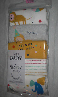 M&S Tiny Baby 6lb 6oz pack of 5 Long sleeve Bodysuits white/grey Animal Party