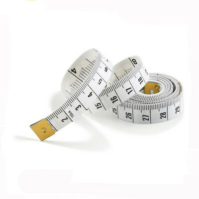 """White Body Measuring Ruler Sewing Tailor Tape Measure Soft Flat 60"""" /150cm"""
