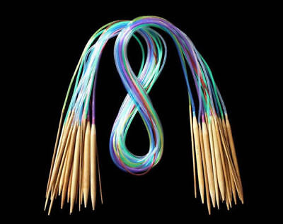 18X Multicolor Tube Circular Carbonized Bamboo Double Pointed Knitting Needle AU