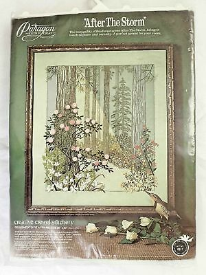 "Large Vintage CREWEL work embroidery kit Paragon ""After the storm"" 26"" x 30"""