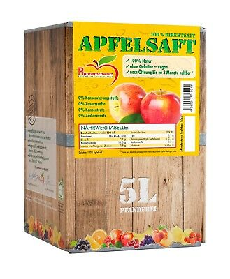 Pfannenschwarz Apfelsaft 100% Direktsaft, 2er Pack (2x5 l Bag in Box)