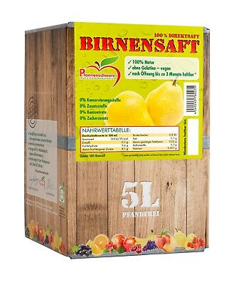 Pfannenschwarz Birnensaft 100% Direktsaft, 2er Pack (2x5 l Bag in Box)
