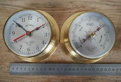 Vintage Ships Brass Clock and Barometer by Culpeper Instruments