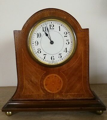 "Edwardian Mantel Clock in Mahogany and Inlaid Case. 8 1/2"" Tall"